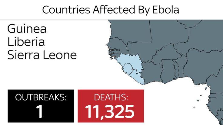 Pays touchés par Ebola en 2014-16