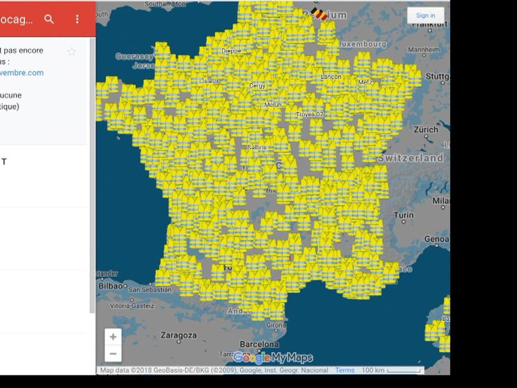 Carte des manifestations en France