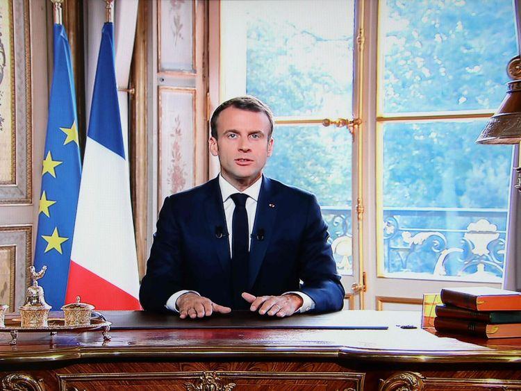Le président français Emmanuel Macron prononce un discours