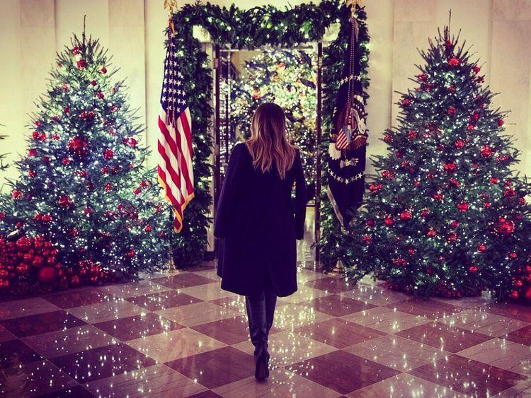 Il y a beaucoup d'arbres à la Maison Blanche ce Noël. Pic: Melania Trump / Twitter