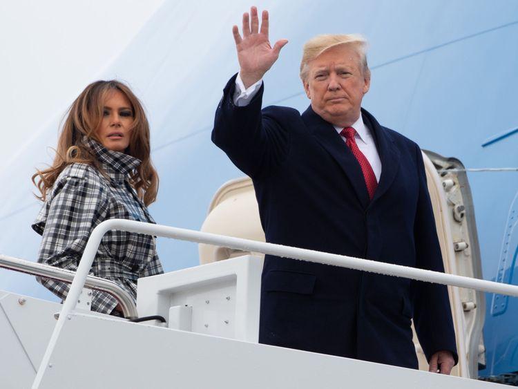 Donald et Melania Trump embarquent dans Air Force One pour la France