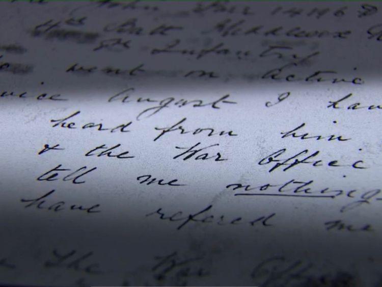 L'histoire du soldat John Parr est reflétée dans les mots de sa mère dans une lettre à son régiment. Pic: Archives nationales