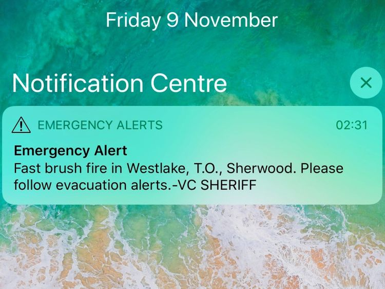 Une alerte d'urgence a été envoyée pour inciter les gens à évacuer