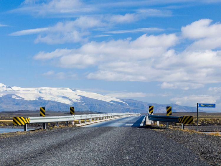 Pont à une voie sur Núpsvötn en Islande