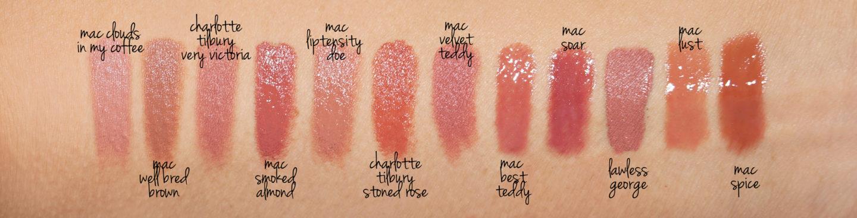 Échantillons de rouge à lèvres + brillant à lèvres, MAC, Charlotte Tilbury, Lawless