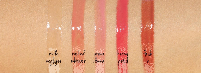Pat McGrath LUST Négligé Nude Brillant, Whisper Méchant, Prima Donna, Pétale Lourd, Échantillon Flesh6   Le look book beauté