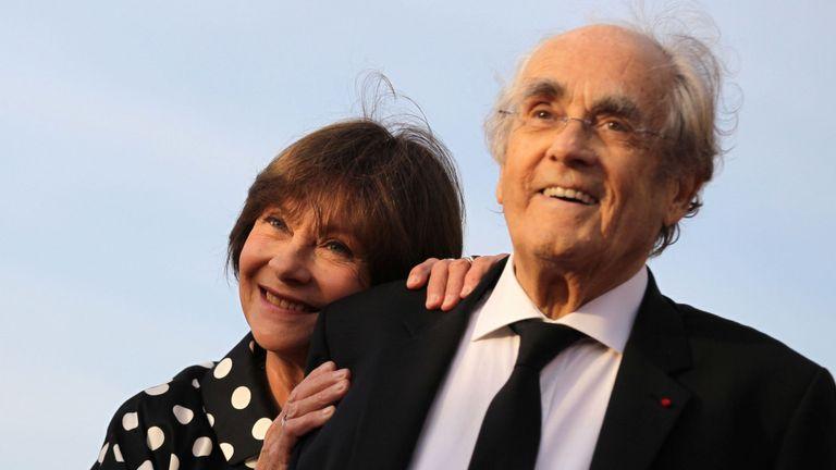 Michel Legrand vu avec son épouse l'actrice française Macha Meril en 2017