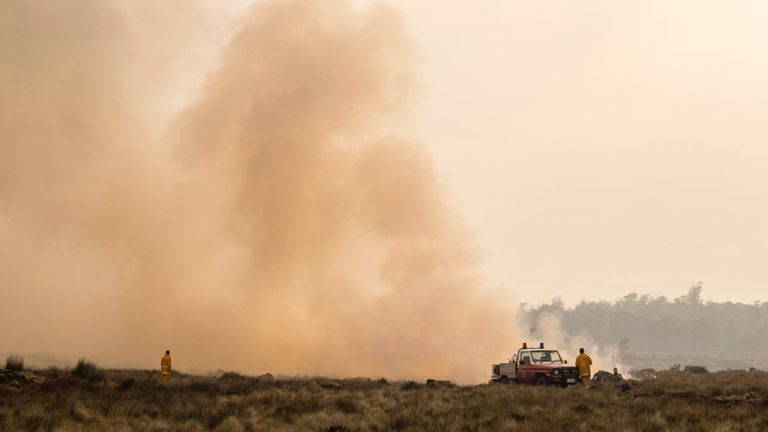 Le service d'incendie de Tasmanie effectue des brûlures de dos et crée des coupe-feux en prévision des conditions météorologiques défavorables le 23 janvier 2019 à Miena, Australie