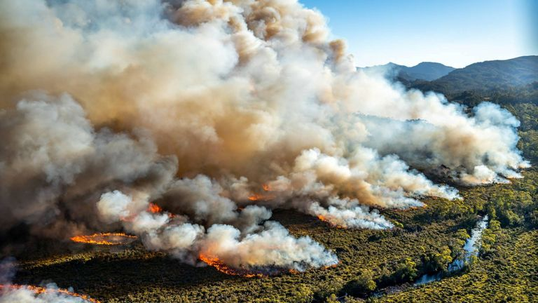 Un grand feu de brousse brûle en Tasmanie, en Australie, sur cette photo non datée publiée avec l'aimable autorisation de Tasmania Parks and Wildlife Service.