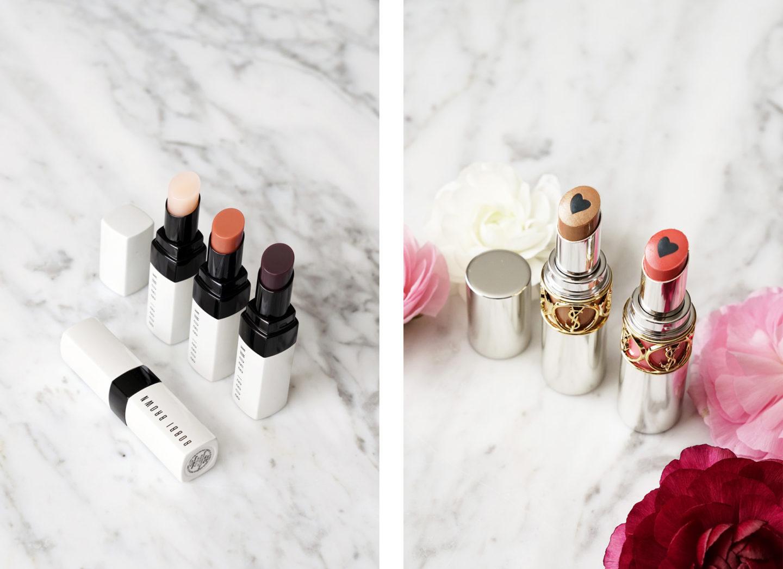 Rouge à lèvres Bobbi Brown Extra en rose nu, nu nu et nu à la mûre YSL Volupte dodue en couleur