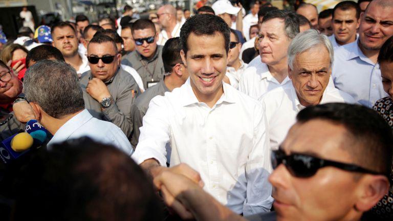 Juan Guaido à la frontière vénézuélienne avec la Colombie