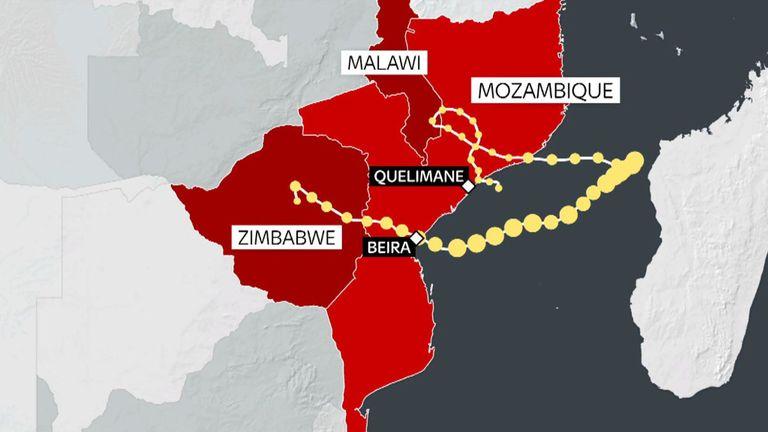 Une carte montrant le chemin du cyclone Idai