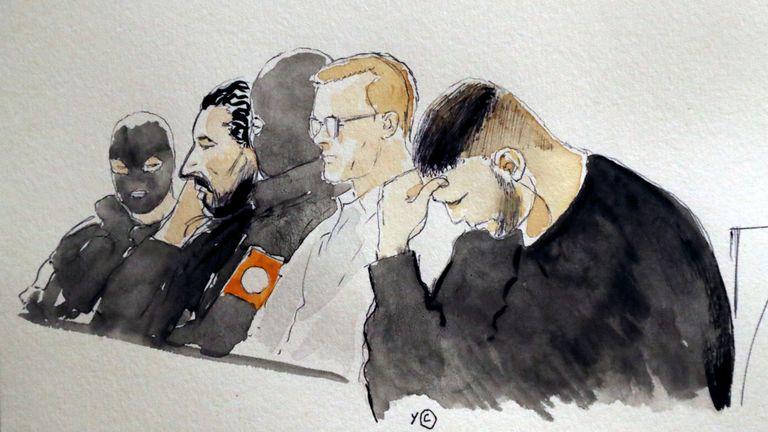 Dessin de la Cour de Mehdi Nemmouche et de Nacer Bendrer lors du procès
