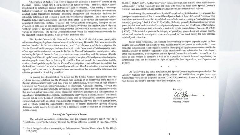 Pages trois et quatre de la lettre de William Barr