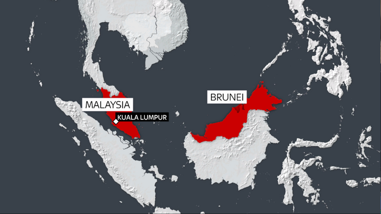 Le Brunéi, représenté en rouge foncé, se trouve en Asie du Sud-Est