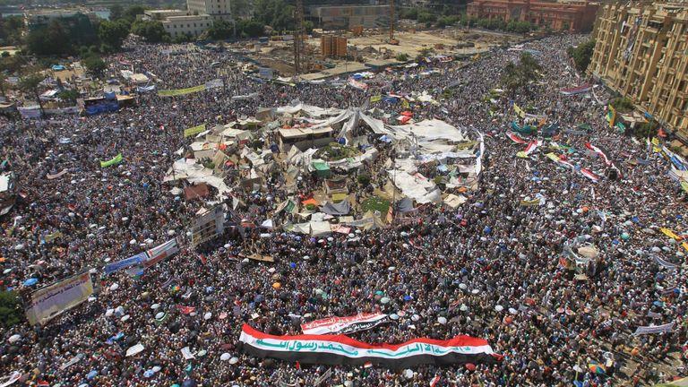 La place Tahrir au Caire a été le centre de nombreuses manifestations importantes lors du printemps arabe