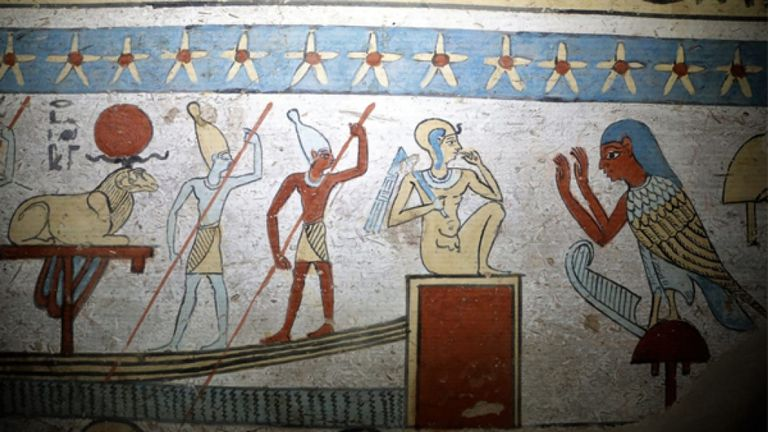 Un détail d'une image de l'intérieur de la tombe. Pic: Ministère des antiquités d'Egypte