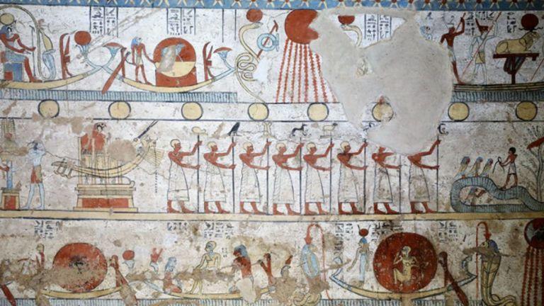 Quelques oeuvres d'art sur les murs de la tombe. Pic: Ministère des antiquités d'Egypte