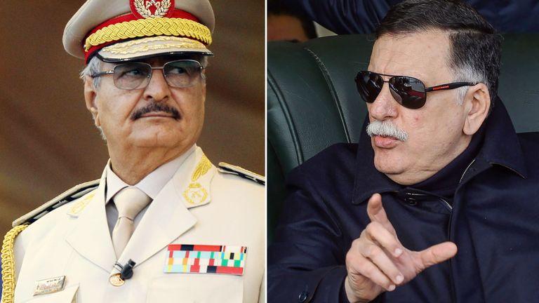 Le Premier ministre Fayez al-Sarraj (à droite) et le Khalifa Haftar, homme fort libyen au gouvernement d'union libyenne
