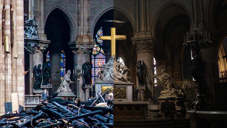 Avant et après qu'un énorme incendie se déclare dans la rue Notre-Dame