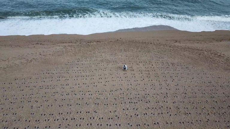 Un mémorial sur Slapton Sands, Devon, à la mémoire de ceux qui sont morts à l'exercice Tiger