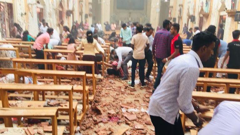 L'église Saint-Sébastien de Negombo a été gravement endommagée. Pic: Église Saint-Sébastien / Facebook