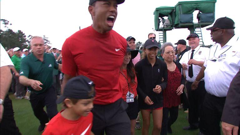 Tiger Woods et sa famille après sa victoire