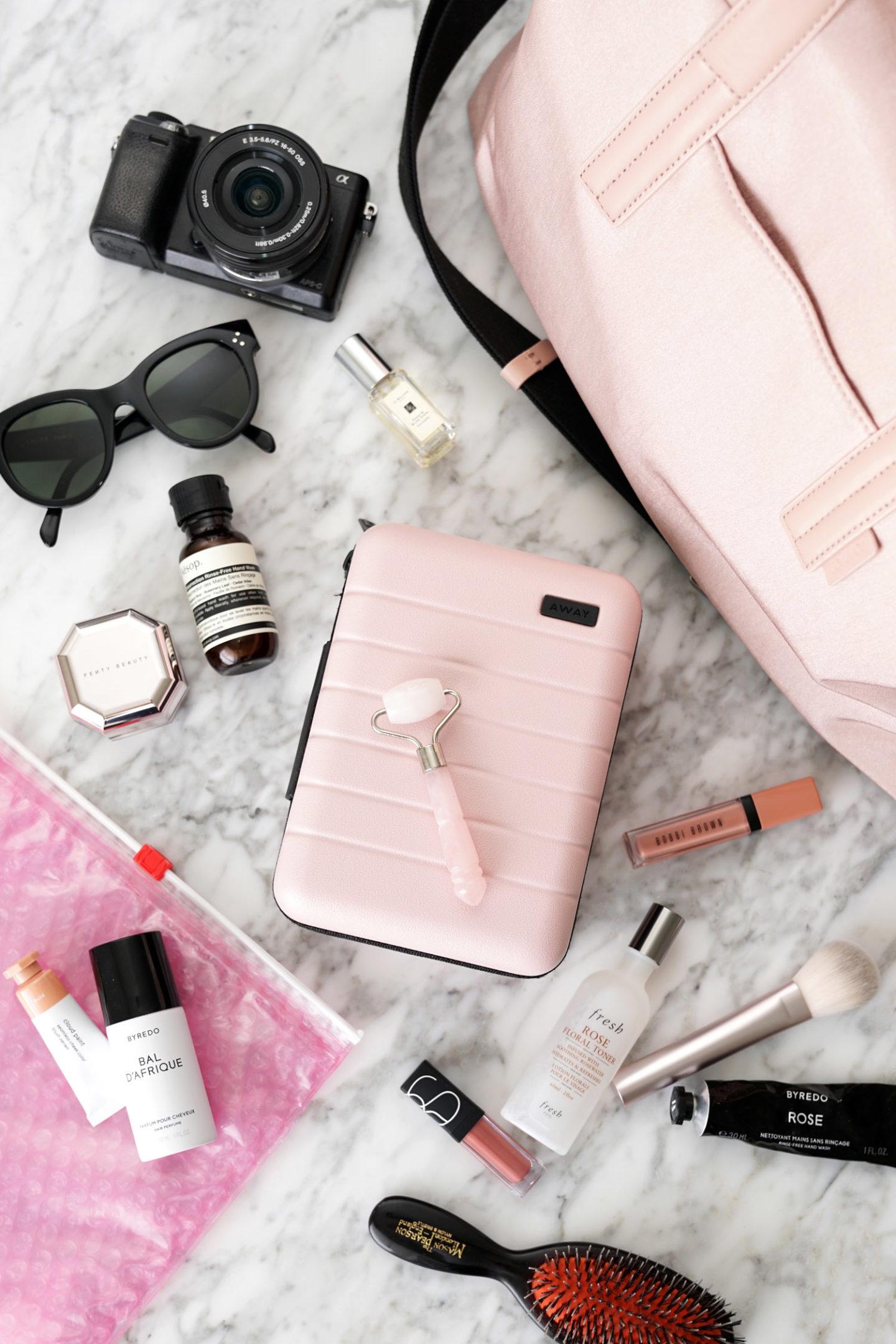 Étui de voyage mini en blush via le look look book