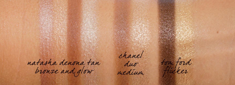 Natasha Denona Tan Bronze et Glow, Duo Chanel Bronze Et Lumière Moyen, Tom Ford SKin Duo Lumineux Flicker