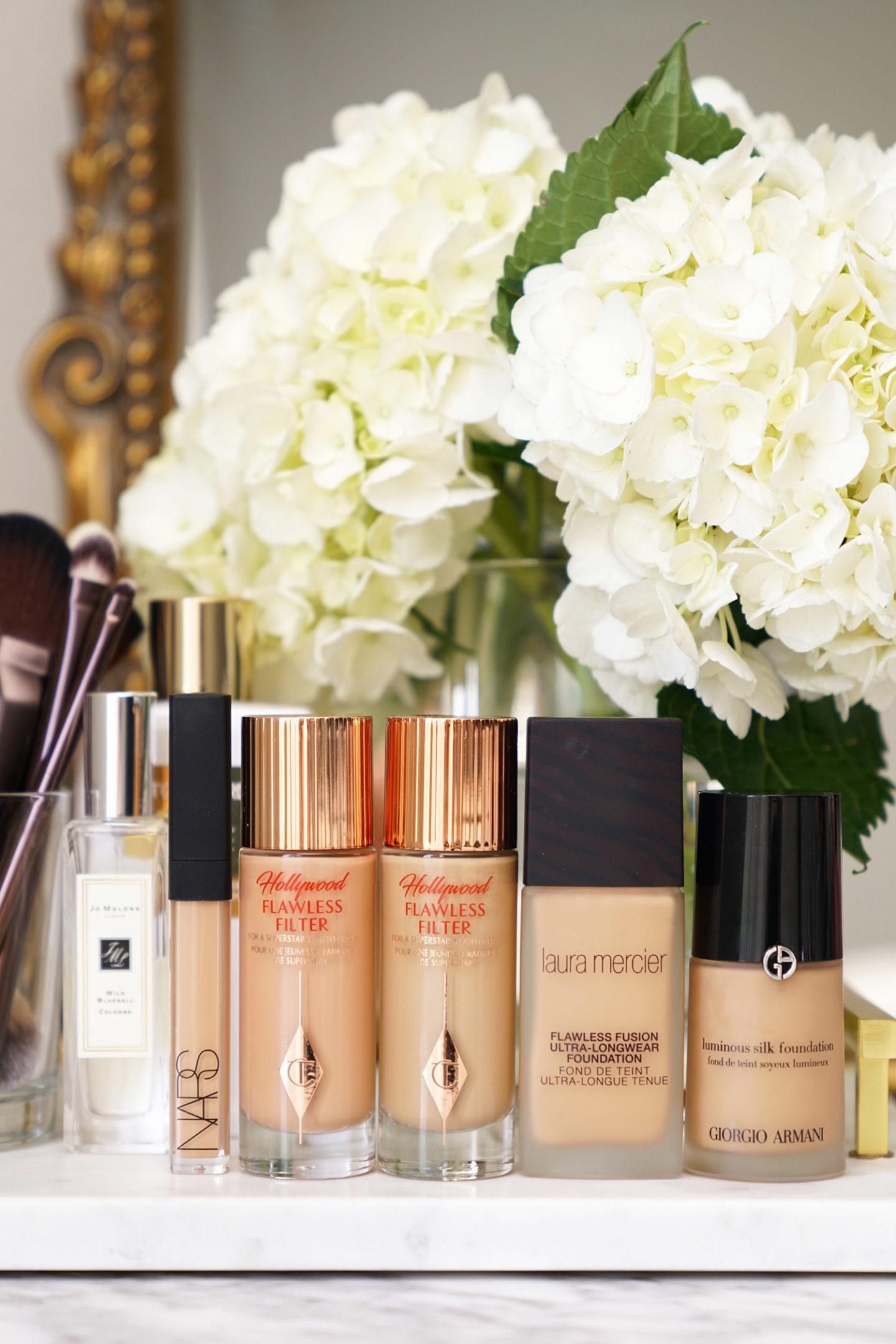 Bases de maquillage préférées NARS, Charlotte Tilbury, Laura Mercier et Armani Luminous Silk