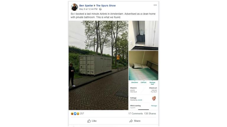 M. Speller a déclaré avoir réservé un hôtel dès qu'il a vu le conteneur