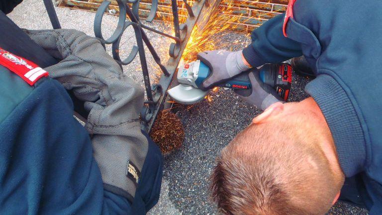 Des griffes hydrauliques et une meuleuse d'angle libèrent le hérisson. Pic: Facebook / berufsfeuerwehrundsicherheit