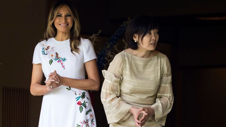 Melania Trump et Akie Abe, épouse du Premier ministre japonais Shinzo Abe