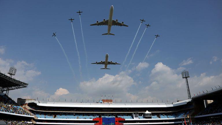 Avion survolant l'inauguration du président sud-africain Cyril Ramaphosa