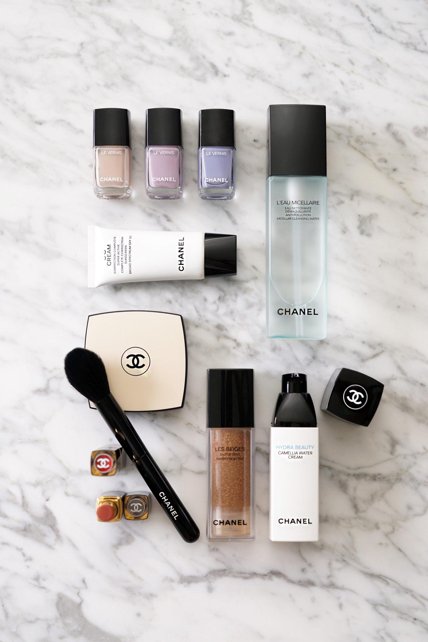 Chanel Favorites Le Vernis, crème CC, crème à l'eau Camelia, teinte Les Beiges
