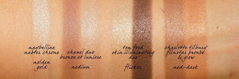 Tom Ford Skin Illuminating Duo en comparaisons de nuances de scintillement