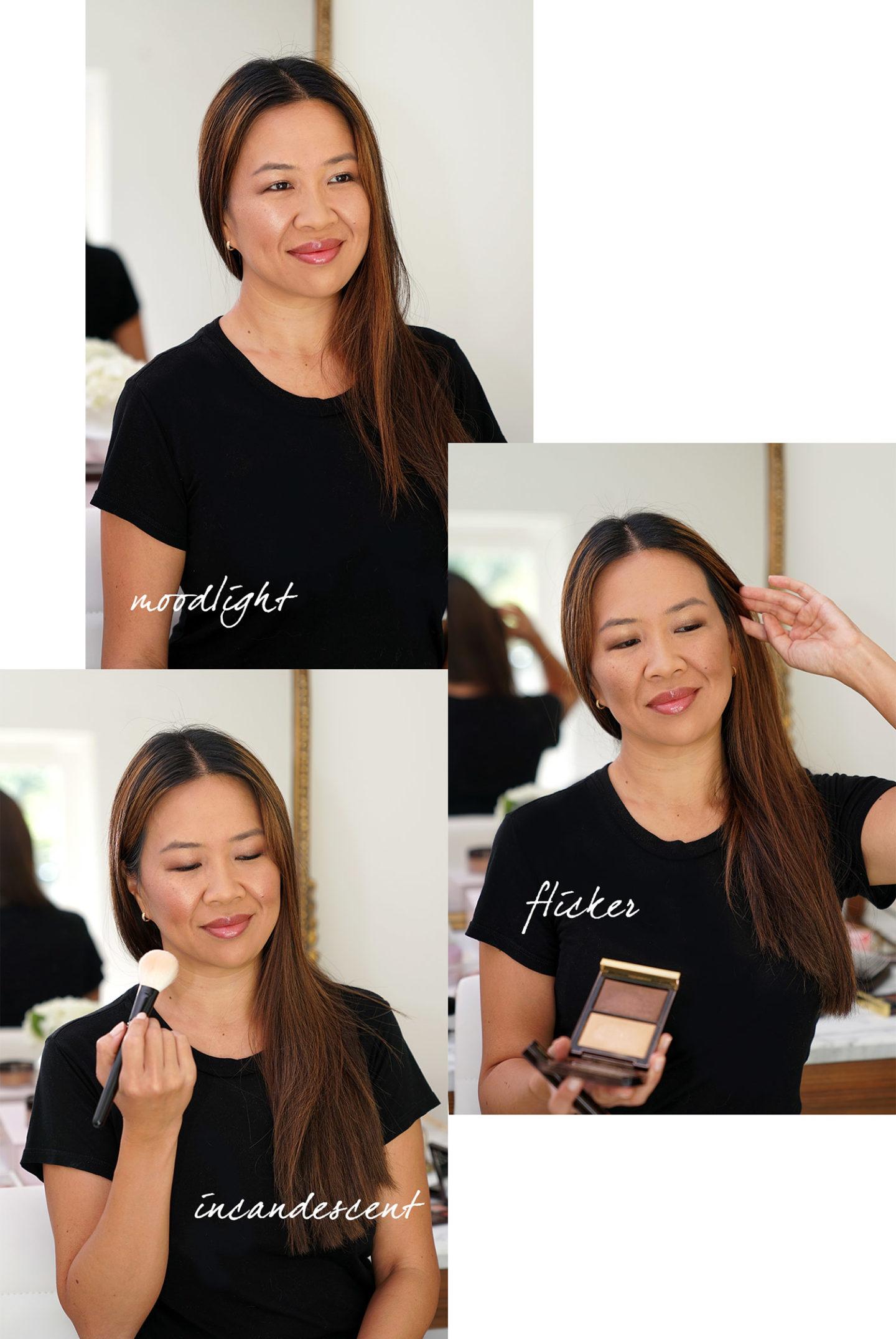 Duo éclairant pour la peau Tom Ford: le maquillage Moodlight, Flicker et Incandescent ressemble au nuancier