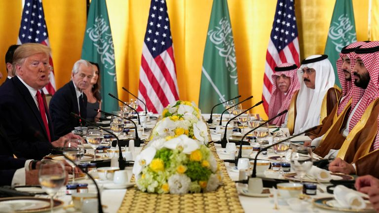 Un petit-déjeuner de travail a été organisé entre le président Trump et le prince héritier saoudien Mohammed bin Salman.