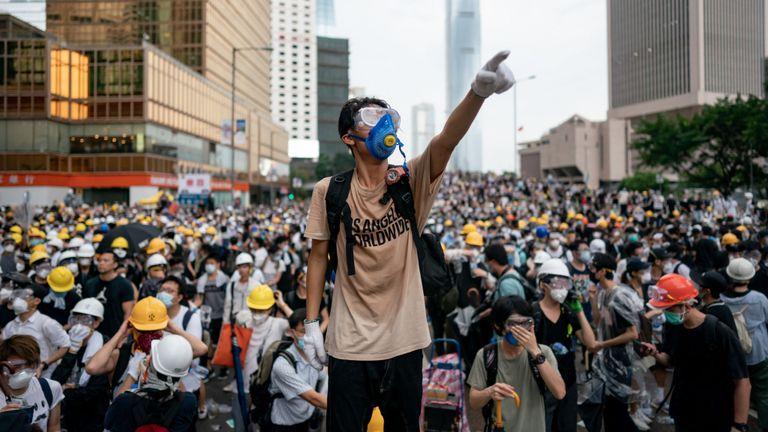 Manifestants à Hong Kong