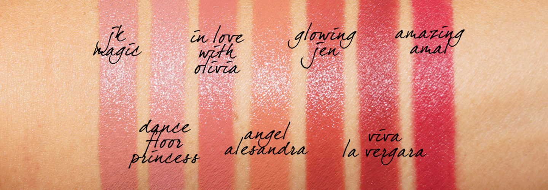 Charlotte Tilbury Hot Lips 2.0 dans JK Magic, Dance Floor Princess, En amour avec Olivia, Jen éclatante, Viva La Vergara, Incroyable nuance Amal
