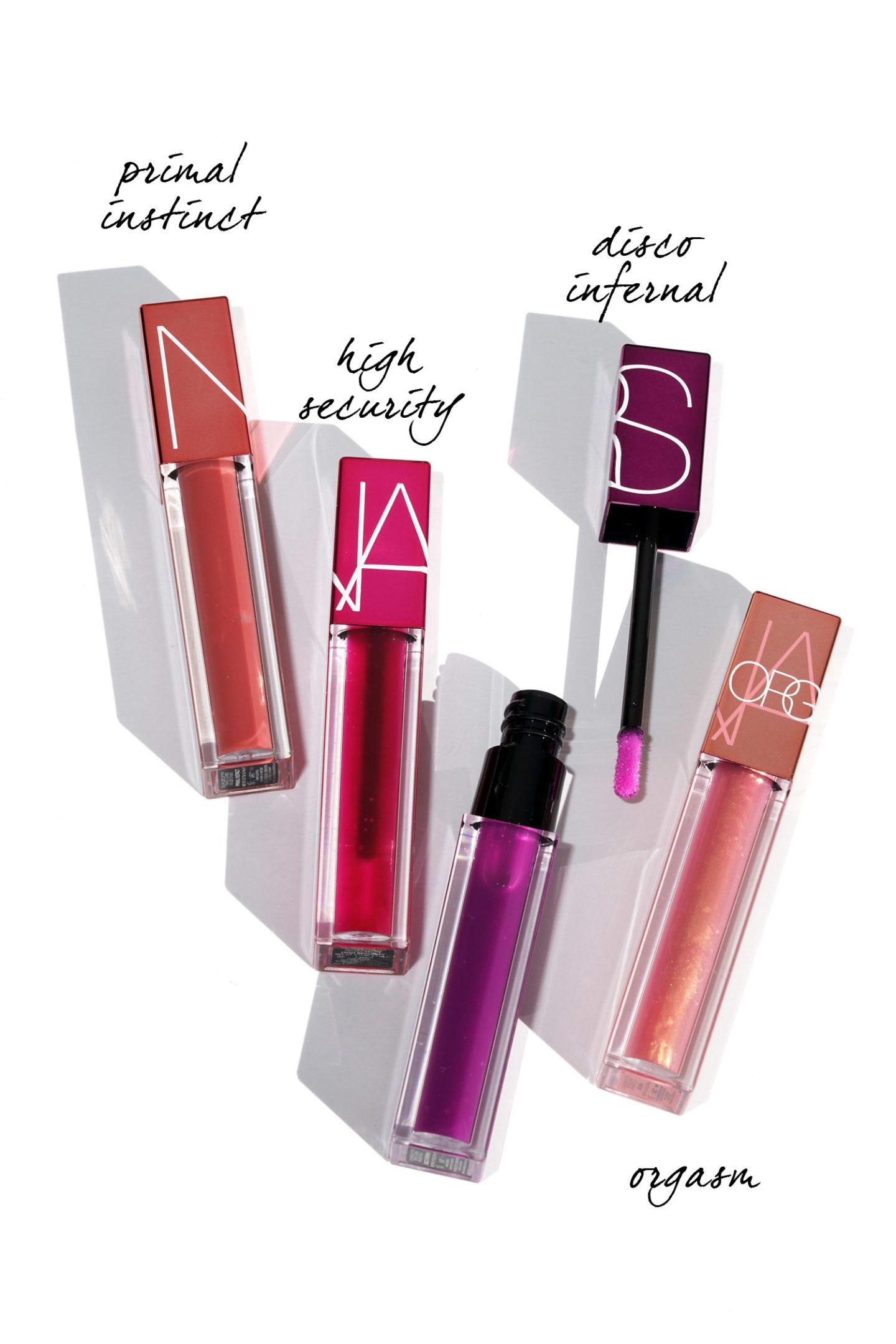 Lèvres infusées à l'huile de NARS Instinct Primal, Haute Sécurité, Disco Infernal
