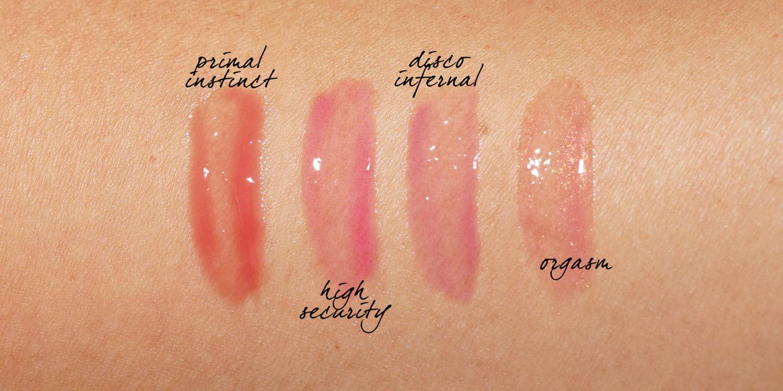 NARS teinté aux lèvres à base d'huile, instinct primordial, haute sécurité, échantillons disco infernal