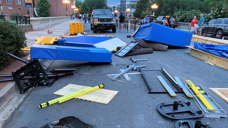 Le VUS s'est écrasé contre les barrières lors d'un événement de saut à la perche. Pic: Service de police de Greenville