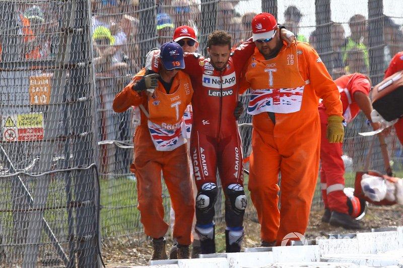 Andrea Dovizioso, Ducati Team après sa chute