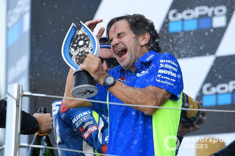 Podium: Alex Rins, vainqueur de la course, Team Suzuki MotoGP