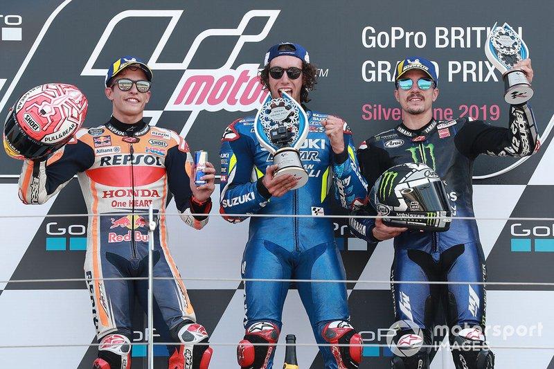 Podium: Alex Rins, vainqueur de la course, Suzuki MotoGP, deuxième place Marc Marquez, Repsol Honda Team, troisième place Maverick Vinales, Yamaha Factory Racing