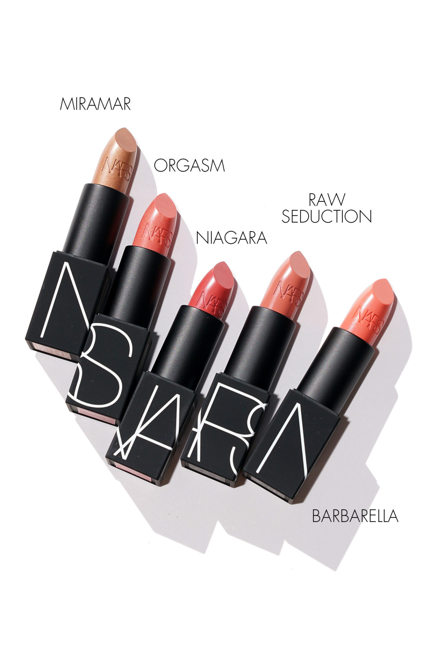 NARS Rouge à lèvres Miramar, Orgasm, Niagara, Raw Seduction, Barbarella