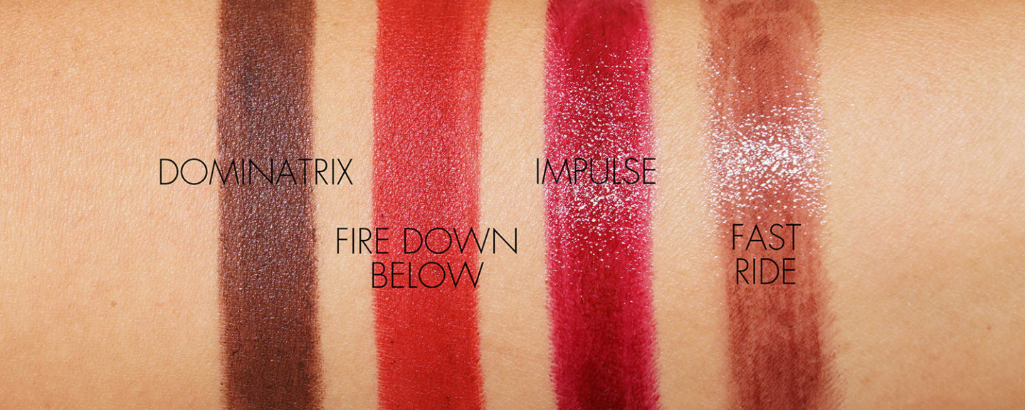 Rouge à lèvres Dominators de NARS Swatches, Fire Down Under, Impulse, Fast Ride