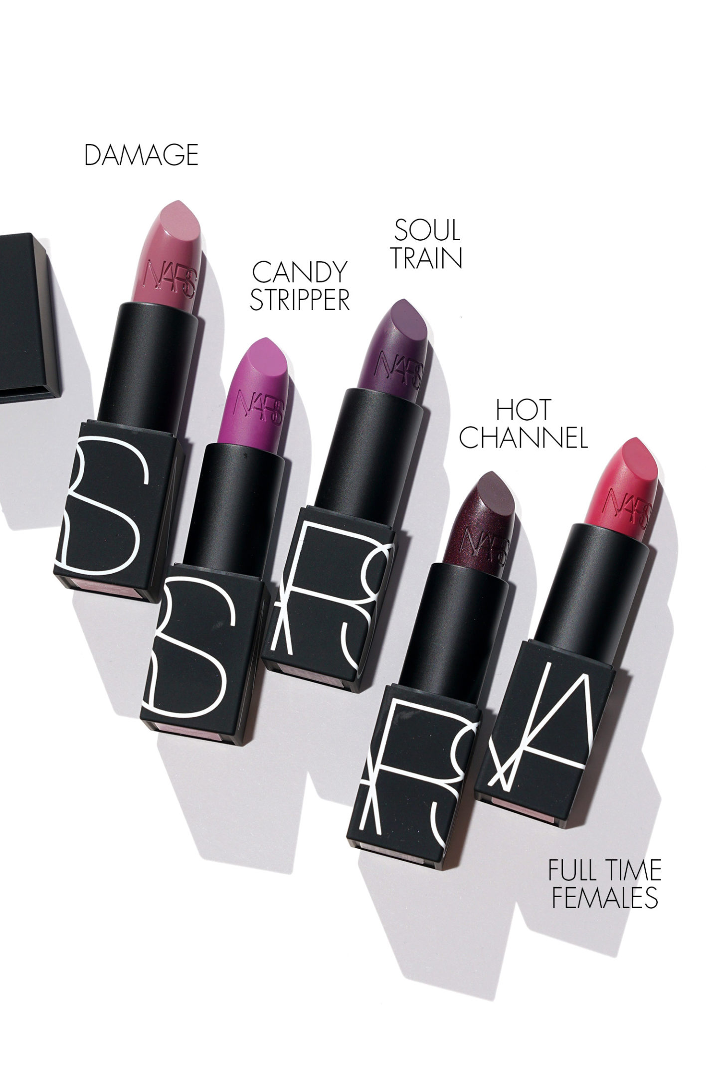 NARS Lipstick Damage, Candy Stripper, Soul Train, Hot Channel, Femelles à plein temps