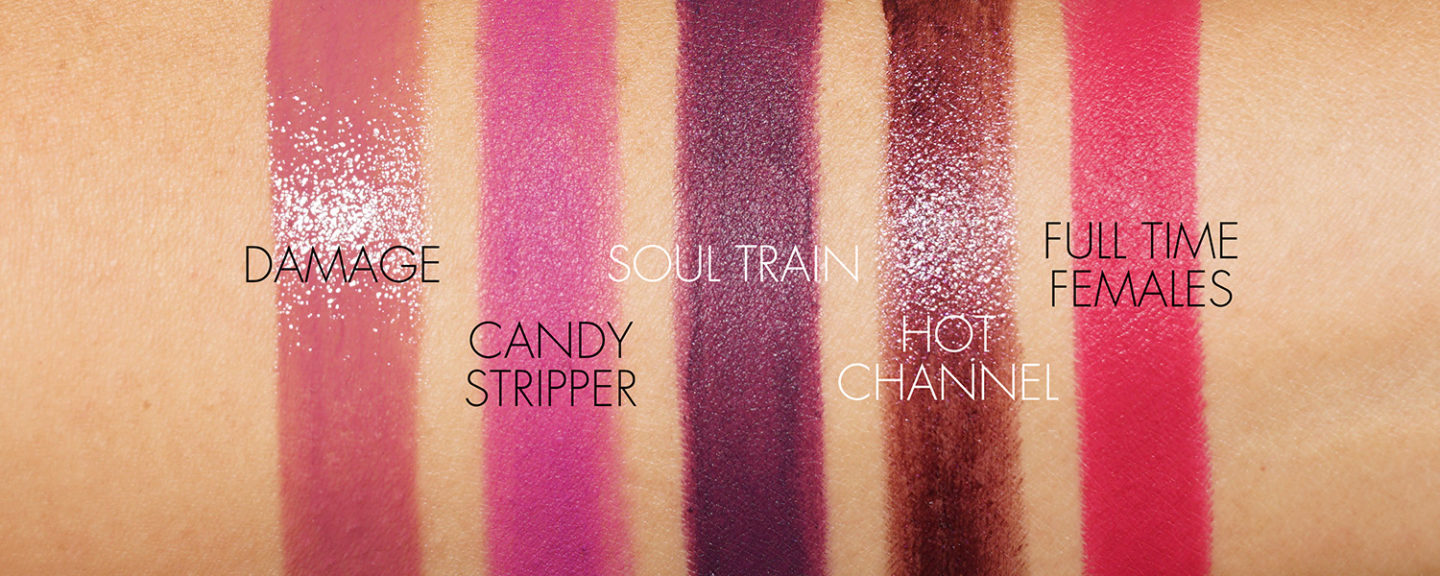 NARS Lipstick Damage, Candy Stripper, Soul Train, Hot Channel, échantillons féminins à plein temps